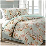 Oceanside Reversible Quilt Set, Coastal Shell and Coral Pattern, 3-Piece Set with Quilt and Pillow Shams - King, Oceanside