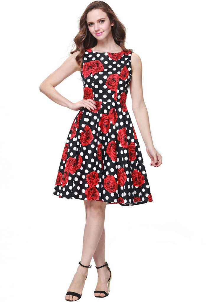 Buenos Ninos Women's Classic 1950s Printed Vintage Retro Rockabilly Party Ball Swing Dress Black with Red Rose L by Buenos Ninos (Image #1)