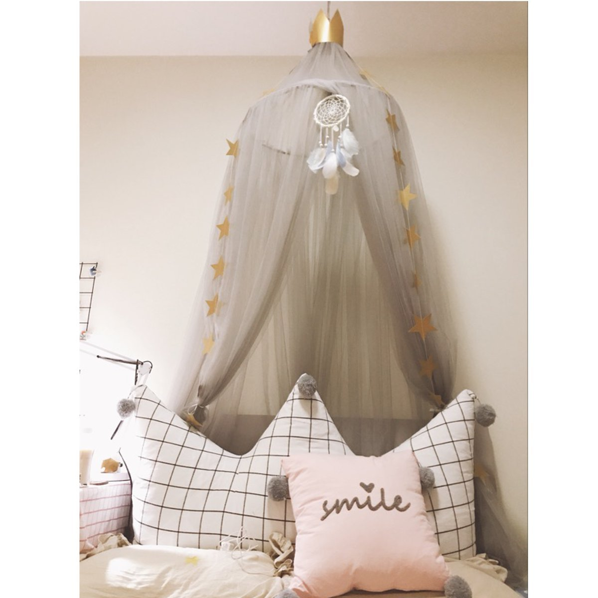 Jeteven Polyester Dome Princess Bed Canopy Kids Play Tent Mosquito Net with Crown for Baby Kids Indoor Outdoor Playing Reading Height 240cm/94.5in Grey