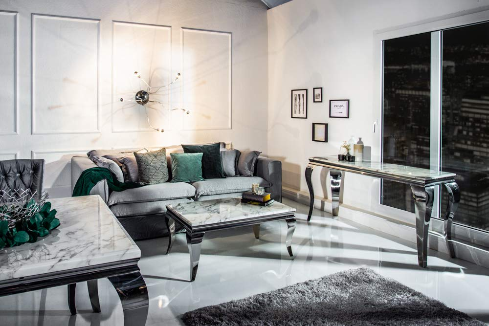 Riess Ambiente Eleganter Konsolentisch MODERN BAROCK 140cm grau wei/ß Marmor Edelstahl