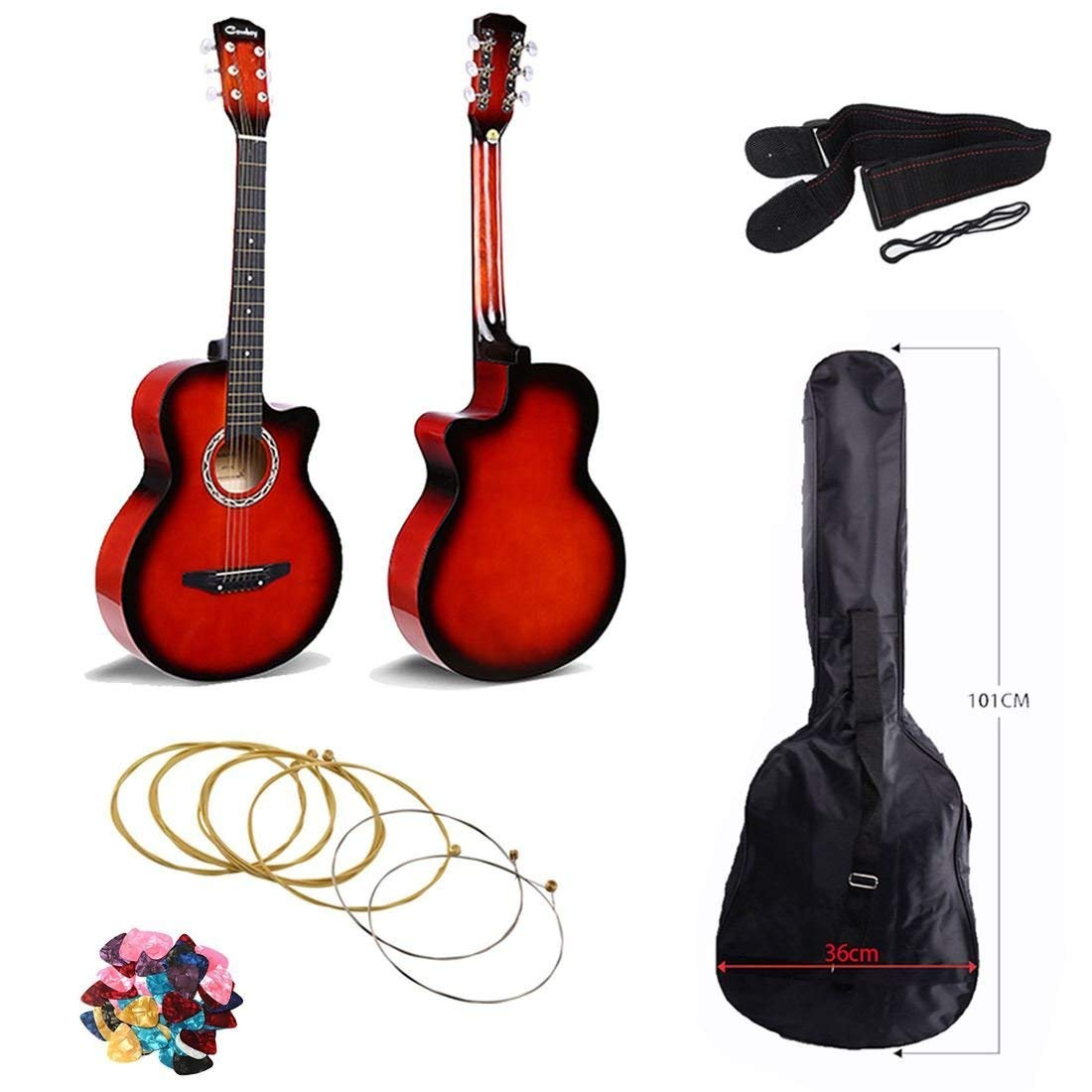 Cowboy 38 inches Acoustic Guitar with Cutaway Design Comes With Guitar Bag, Strap, Guitar Picks and an extra set of 6 strings – Red Color Kanadian CWBY-RD1
