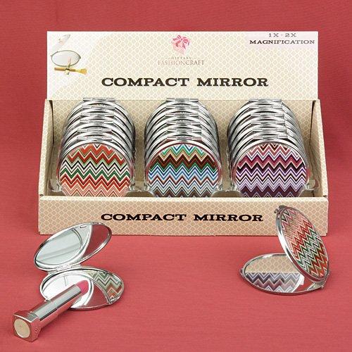 90 Assorted Chevron Design Mirror Compacts