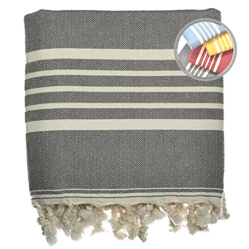 The Loomia Turkish Towel – Sia Peshtemal Series (100% Cotton, Beach Bath Travel Towels, Size Extra Large, Grey) by The Loomia