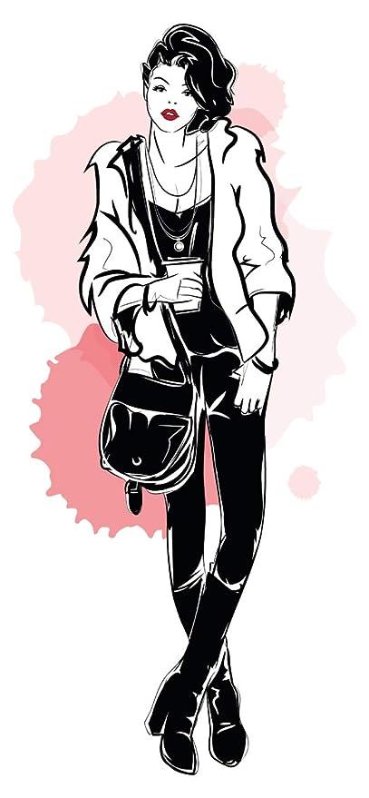 Pegatina de pared Modelar Mujer con ropa de moda en blanco y negro de moda Pegatinas