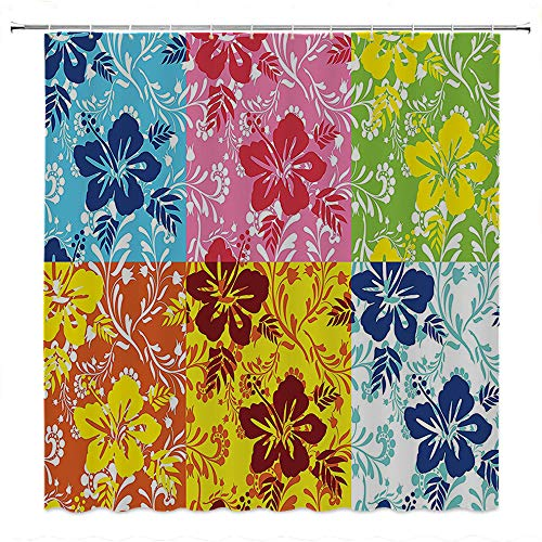 SATVSHOP Creative-Home-Ideas-Textured-Shower-Curtain-with-Beaded-Rings-Tropical-Colorful-Blooming-Hibiscus-Flower-Summer-Themed-Pattern-with-Leav-Blue-Green.W69-x-L70-inch ()