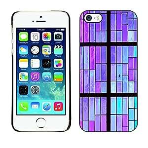 Cubierta protectora del caso de Shell Plástico || Apple iPhone 5 / 5S || Wall Pattern Minimalist Purple Teal @XPTECH