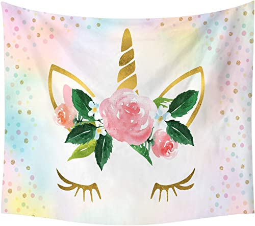 Lora Rossie Unicorn Theme Birthday Party Background Decor Dessert Table Cloth Home Decor Wall Tapestry