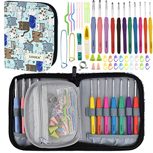 Looen Ergonomic Crochet Hook Set with Case-11 Extra Long Full Size Rubber Soft-Touch Handle Grip Knitting Needles, Contains All The Crochet Accessories Fit Any Projects, Ideal for Crocheters with Art