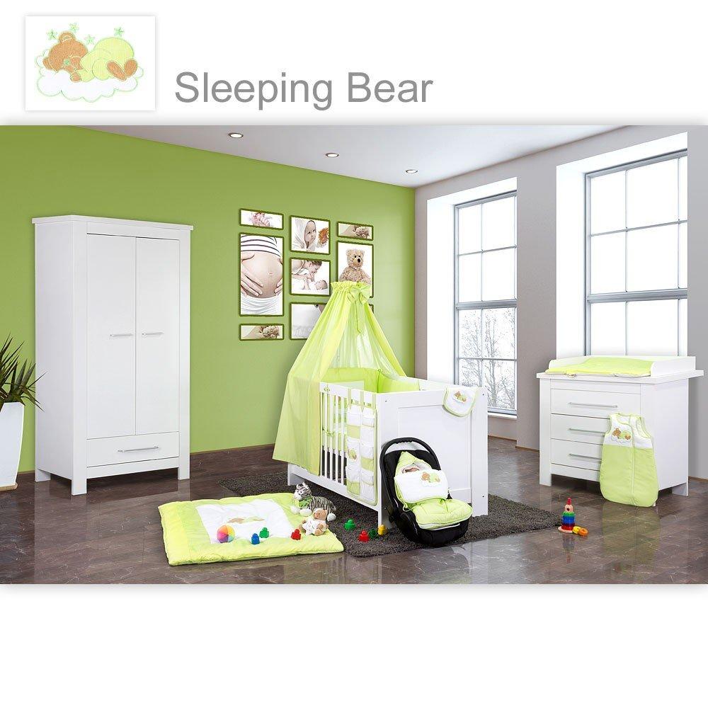 Babyzimmer Enni in weiss 21 tlg. mit 2 türigem Kl. + Textilien Sleeping Bear, Grün