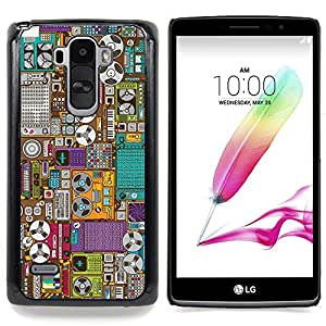 "Qstar Arte & diseño plástico duro Fundas Cover Cubre Hard Case Cover para LG G4 Stylus H540 (Grabar Oldschool Máquina de dibujos animados"")"