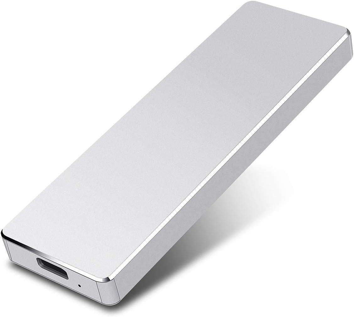 Portable 1TB External Hard Drive - Hard Drive External USB3.1 HDD for Mac Laptop PC (2TB, Silver)