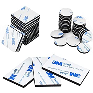 Double Sided Foam Tape Strong Pad Mounting,Black Self-Adhesive Tape Include Square Round and Rectangular(60Pcs)