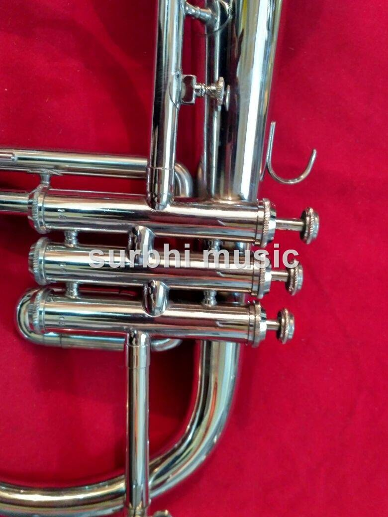 Surbhi Music Silver Chrome Flugel Horn Bb Flat With Free Case Box & Mouth Pc.