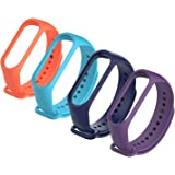 4Pack Compatible Xiaomi Mi Band 3 Bracelet, Silicon Sport Replacement Strap Wristband Accessories Colorful Compatible