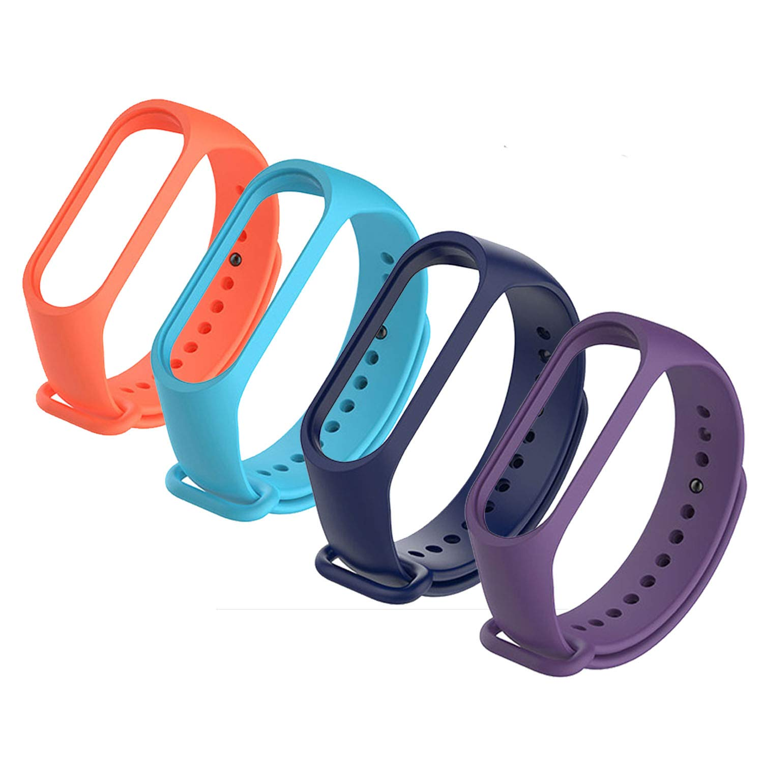 4Pack Xiaomi Mi Band 3 Bracelet, 2PCS Screen Protector with Silicon Sport Replacement Strap Wristband Accessories Colorful Mi Band 3 Accessories ...