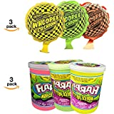 The #1 Whoopie Cushion [self-inflating] 3 pack + Fart Slime Putty [Super Soft] 3 pack - Amazons'FavoritePrank Toys For Young Kids Combo [Surprise Colors] They make fart noises.