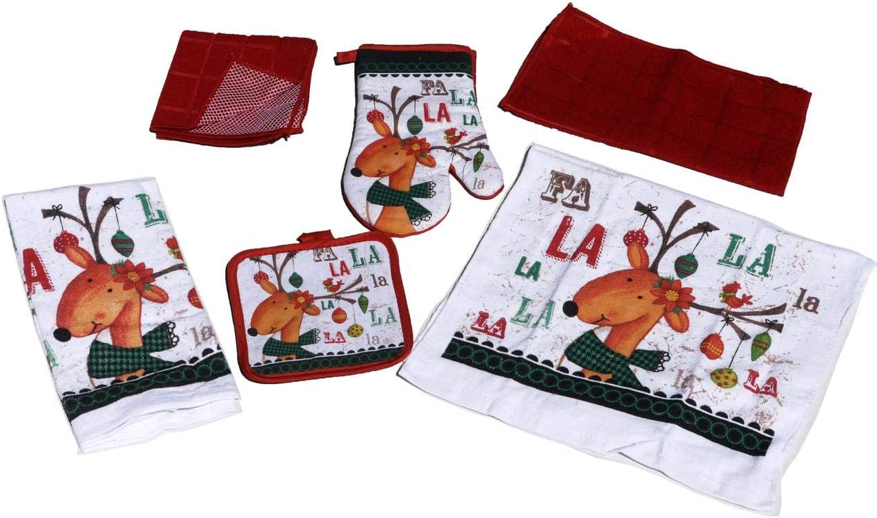 Christmas Kitchen Towels and Dish Cloths Set – Reindeer Holiday Bundle Includes 6 Items with Matching Pot Holder and Oven Mitt, Reindeer