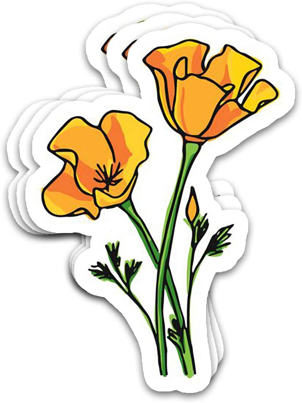 SNOWIX California Vintage Eschscholzia, US State Golden Poppies Flowers Awesome Gift Ideas Stickers for Laptops Tumblers Books Luggages Cases Pack 3x4 in Vinyl 3pcs/Pack