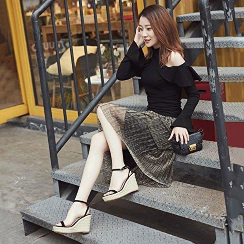 Attrape-rêve Été noir talons hauts talons élégants sandales fond épais Vintage Open-toed femmes chaussures (Couleur : Beige, taille : 37) Noir