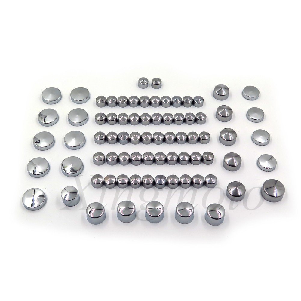 NBX- 77 Piece Chrome Caps Cover Kit for 04-15 Harley Sportster Engine & Misc Bolt Nut Xingmoto