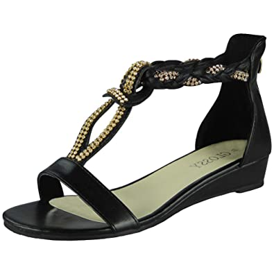 62b7346d285 Loud Look Womens Studded Gladiator Sandals Ladies T-Bar Comfy Low Wedge  Heel Shoes Size