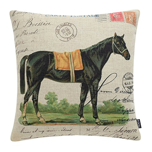 TRENDIN Square Pillow Cover - 18 X 18 Inch Decorative Throw Pillowcase, Farmhouse Horse PL228TR ()