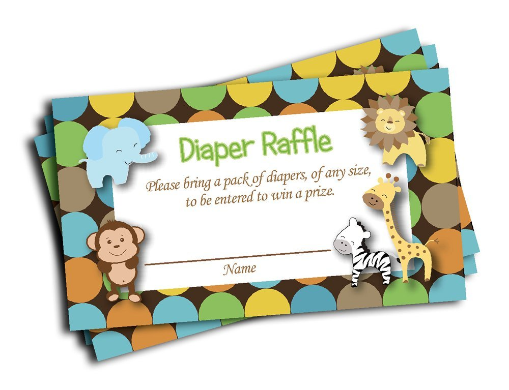 Jungle Printed Diaper Raffle Tickets Boy Neutral Baby Shower (50-cards)