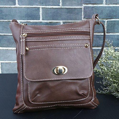 houlder Tote Brown Bag Crossbody Satchel Dark Fashion HandBag Women PU Widewing qUgSTBtw