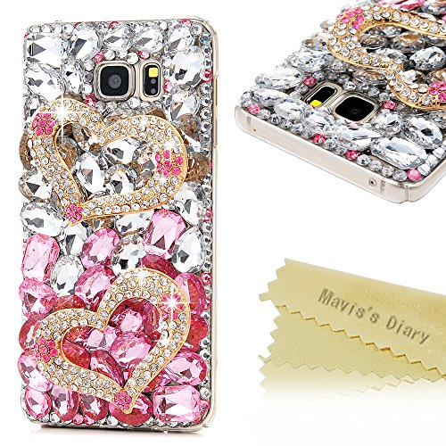 Mavis's Diary Galaxy Note 5 Case 3D Handmade Luxury Bling Crystal Double Golden Love Heart Shiny Diamonds Glitter Pink Rhinestone Clear Hard PC Case Full Edge Cover for Samsung Galaxy Note 5 SM-N920