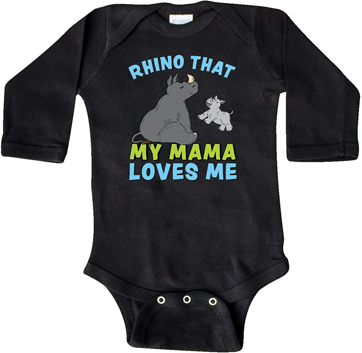 inktastic Rhino That My Mama Loves Me with Cute Rhinos Long Sleeve Creeper