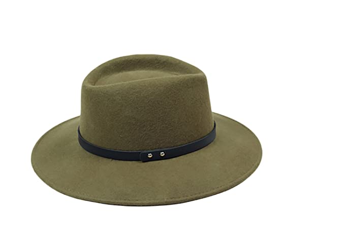 6ed47b2e280 Liveinu Women s 100% Wool Felt Hat Wide Brim Floppy Fedora Hat Jazz Hats  With Belt