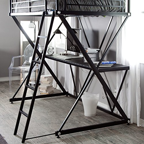 Black Modern Metal Bunk Bed Loft with Desk | Perfect Contemporary Space Saving Bed and Sturdy Study or Storage Desk Furniture Set for Your Child, Teen Boys or Students | Spacious Desk Space for a PC, Laptop, Netbook and School Supplies by Gramercy Home (Image #5)