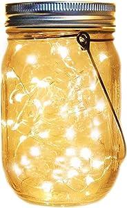 XVZ Solar Mason Jar Lid Lights 20 LED Light String Fairy Light,IP65 Waterproof Light for Garden Deck Patio Party Wedding Christmas Decorative Lighting (Warm White)