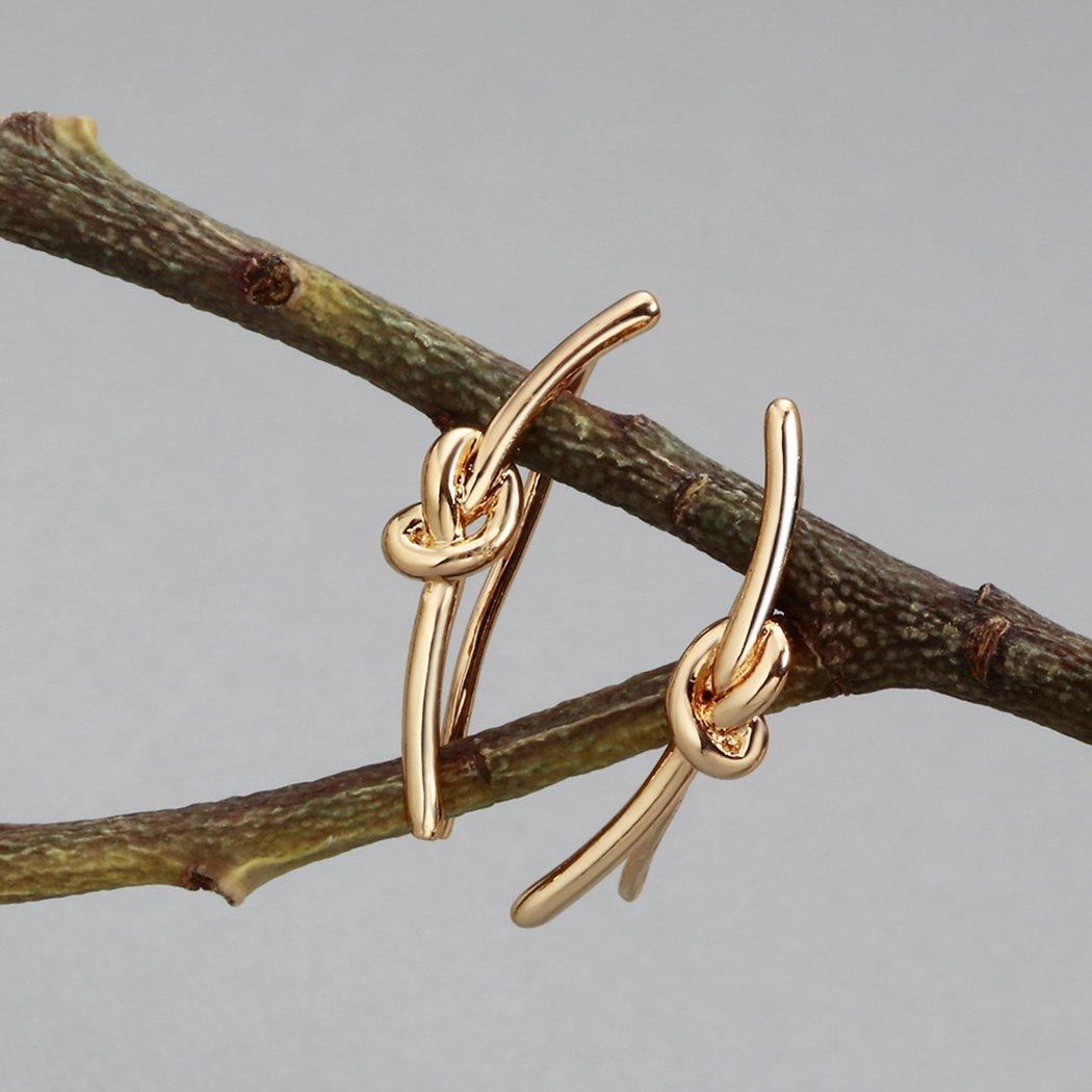 Unique Rope Knot Twist Dangle Earrings Crawler Ear Cuff Stud Piercing Punk Rock Jewelry