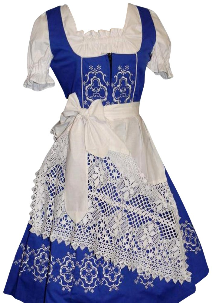 Dirndl Trachten Haus 3-Piece Long German Wear Party Oktoberfest Waitress Dress 12 42 Blue