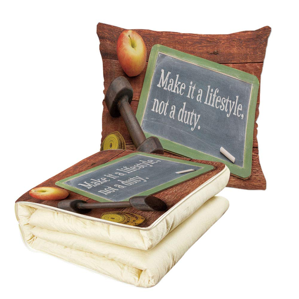 Quilt Dual-Use Pillow Fitness Make It a Lifestyle Not a Duty Chalkboard Apple Dumbbell Tape Measure on Wood Print Multifunctional Air-Conditioning Quilt Multicolor