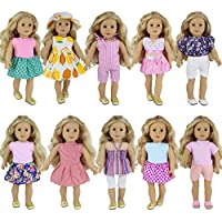 ZITA ELEMENT 10 Sets Clothes for American Girl Doll | Handmade Fashion Oufits, Daily/Party Dress, Accessories Fits 16-18 Inch Dolls
