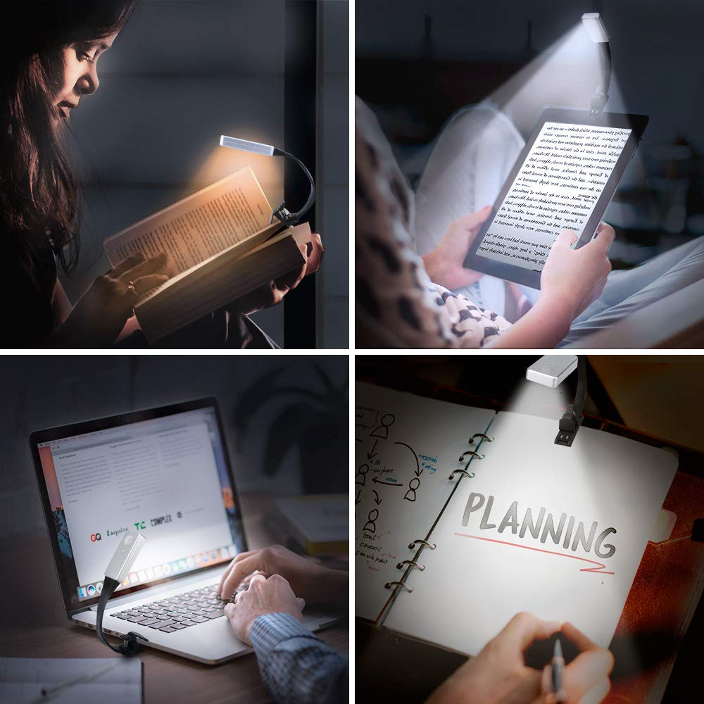 Book Light E-More USB Rechargeable Clip Lights Eye-Care Flexible Reading Light with 3 Level Dimming Flexible Clip Light for Reading Portable Reading Light for Camping Travel Train Book Laptop Tablet