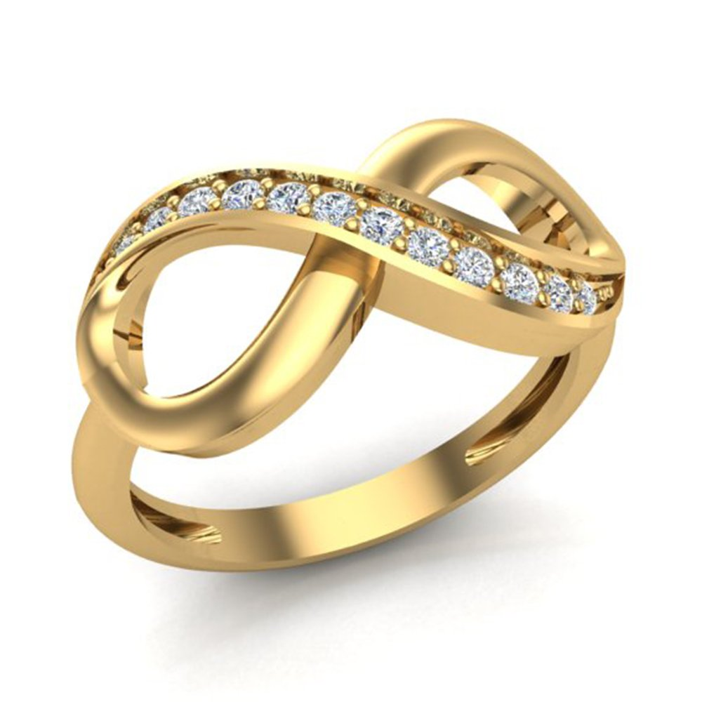 0.15 ct tw Infinity Diamond Ring 14K Yellow Gold (Ring Size 7)