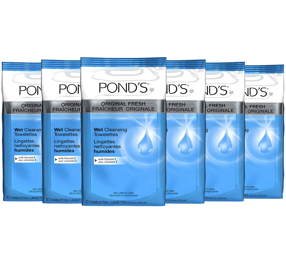 Pond's Original Fresh Wet Cleansing Towelettes, With Vitamin E, 30 Towelettes (Pack of 6)