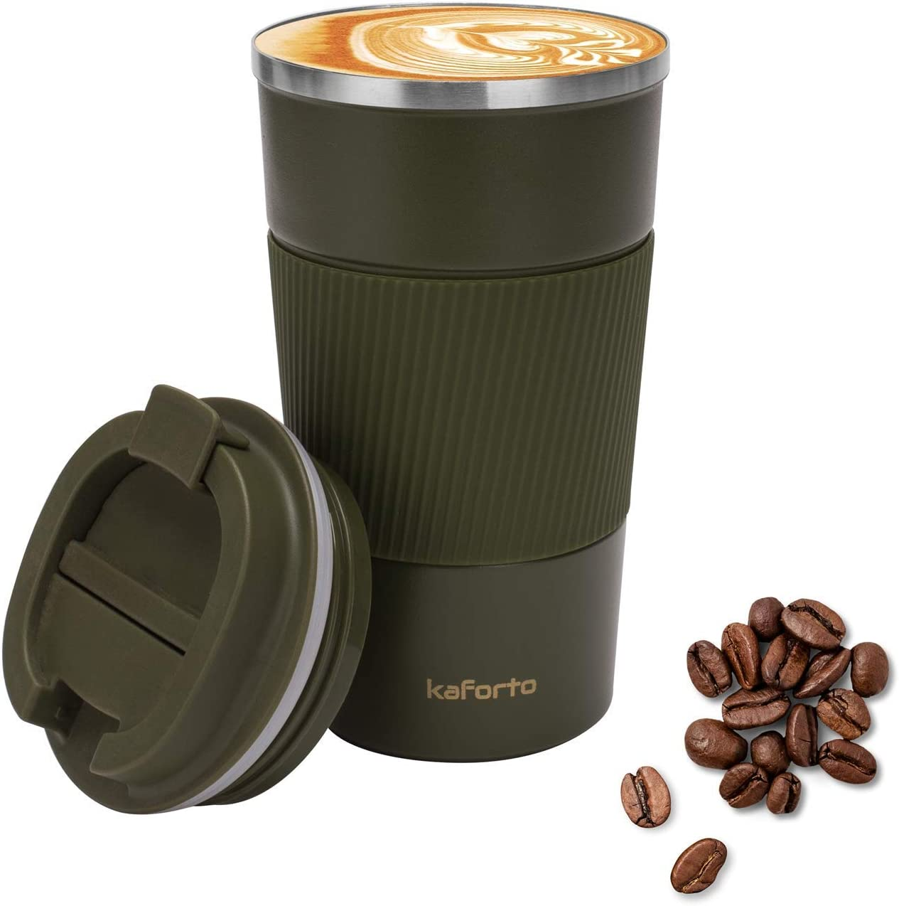 16oz Insulated Coffee Travel Mug Stainless Steel Vacuum Coffee Cup Leakproof with Screw Lid Double Wall Coffee Tumbler Reusable Thermal Cup for Hot/Iced Beverage - 510ml, Green