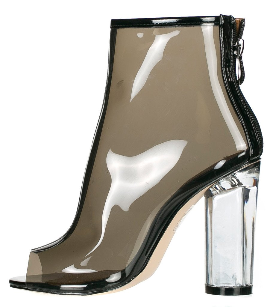 Cape Robbin BENNY-1 Womens Perspex Peep Toe Ankle Boots B01LWS5OON 9 B(M) US|Black