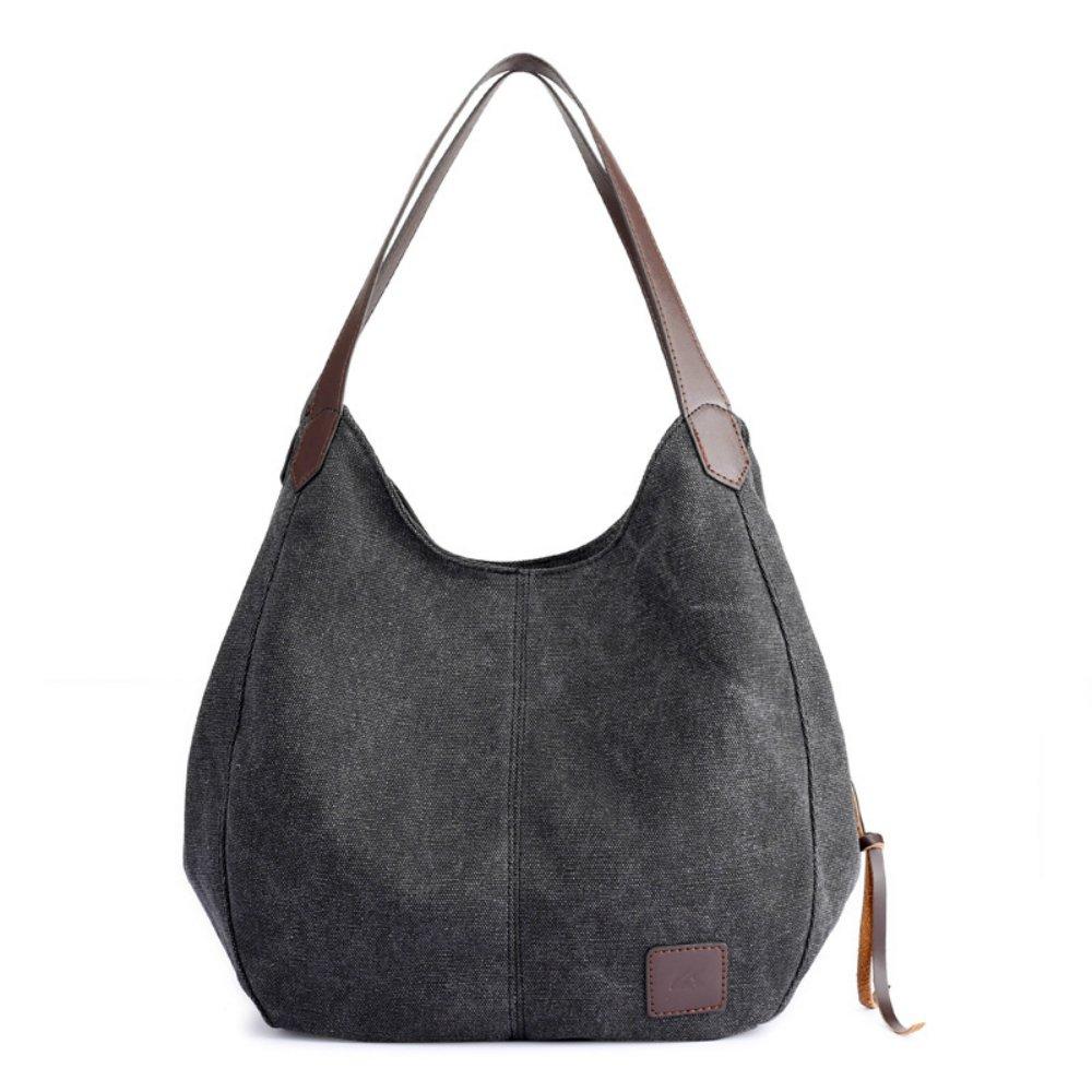 Alyssaa Women's Canvas Shoulder Handbags Ladies Casual Hobo Shopping Bags Cotton Totes Daily Purses (black2)