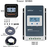 Controlador de carga MPPT 30A, controlador solar 100V PV Negativo con conexión a tierra Regulador del panel solar 12V / 24V Auto Tracer 3210AN + Medidor MT-50 + RTS