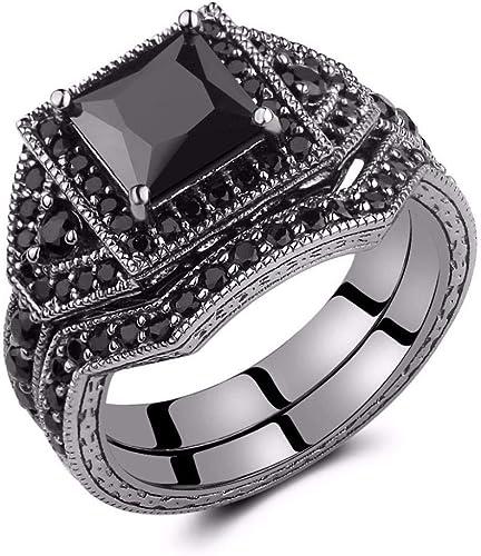 Women Princess Cut Black Gold Filled Double Ring Set Purple Crystal Cubic Zircon