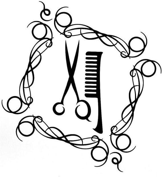 Pegatina de vehículo Etiqueta engomada del coche del vinilo del cepillo de pelo de las tijeras de la moda 14.2CM * 15.2CM 2 piezas: Amazon.es: Bricolaje y herramientas