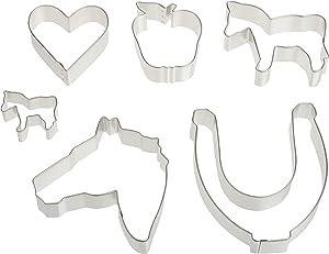 R&M International Equestrian Cookie Cutters, Horseshoe, Heart, Apple, 3 Horses, 6-Piece Set