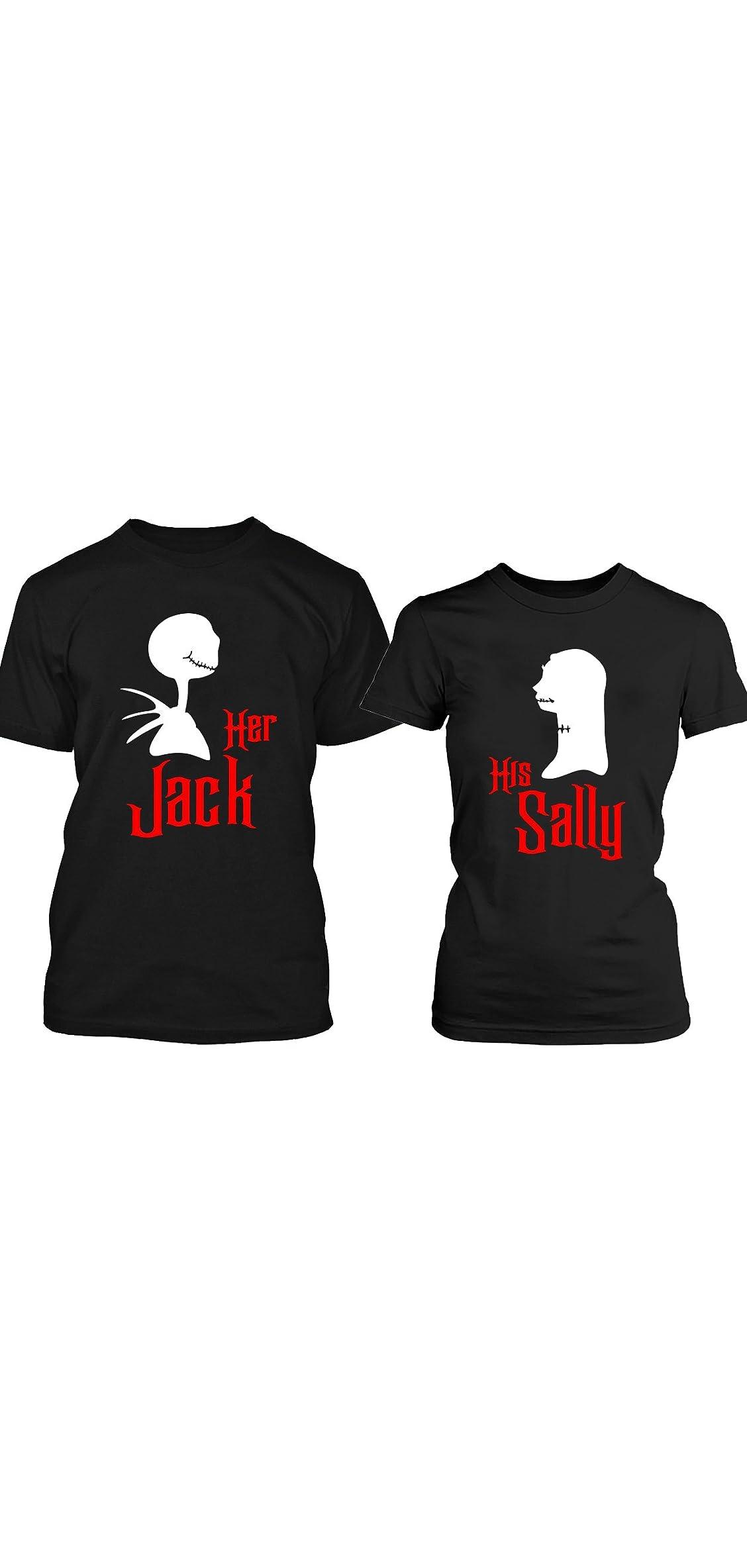 Halloween Jack Sally Couple T-shirts Black