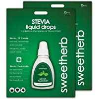 Sweetherb Stevia, Zero Calorie, Natural, Herbal Sugarfree Liquid - 15 ml (Combo of 2)