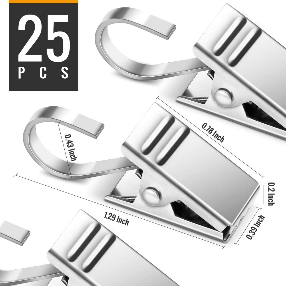 Teenitor 25 Pack Curtain Clips Stainless Steel Strong Party Wire Light Holder for Hanging Camper Awning Light Photos Christmas Decor Indoor and Outdoor Supplies
